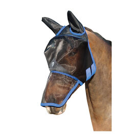 Hy Equestrian Mesh Full Mask with Ears and Nose - Black/Palace Blue