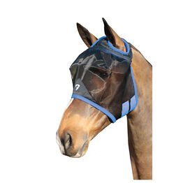 Hy Equestrian Mesh Half Mask without Ears - Black/Palace Blue