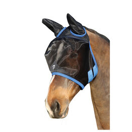 Hy Equestrian Mesh Half Mask with Ears - Black/Palace Blue