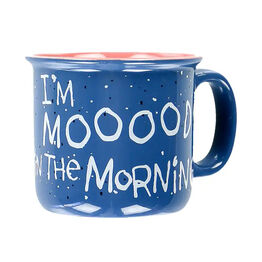 LazyOne Mooody In the Morning Cow Mug - Blue