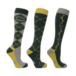 Hy Equestrian Elegant Stirrup and Bit Socks (Pack of 3) - Forest Green/Gold/Silver - Adults 4-8