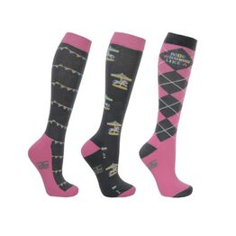 Hy Equestrian Merry Go Round Socks (Pack 3) - Grey/Pink - Adult 4-8