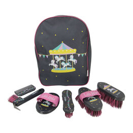 Merry Go Round Complete Grooming Kit Rucksack by Little Rider - Grey/Pink