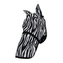 Hy Equestrian Zebra Fly Mask with Ears and Detachable Nose - Black/White