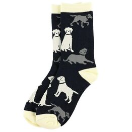 LazyOne Labradors Adult Crew Socks - Black