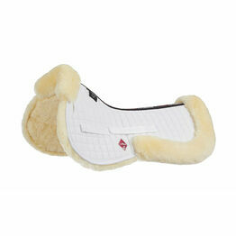 LeMieux Lambskin Pro-Sorb System (Half Pad) - Natural Wool/White Fabric