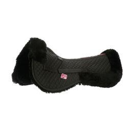 LeMieux Lambskin Half Pad - Black Wool/Black Fabric