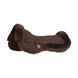 LeMieux Lambskin Half Pad - Dark Brown Wool/Brown Fabric - Small