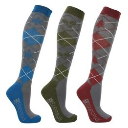 Hy Equestrian - Christmas Argyle Socks (Pack of 3) - Adult 4-8
