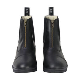 HyLAND Fleece Lined Wax Leather Zip Jodhpur Boot - Black