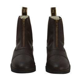 HyLAND Fleece Lined Wax Leather Zip Jodhpur Boot - Brown