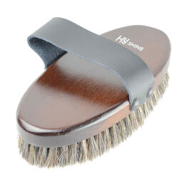 HySHINE Deluxe Horse Hair Wooden Body Brush - Dark Brown - Large