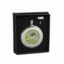 Bisley Round Spaniels Steel Hip Flask - 4.5oz (With Presentation Box)