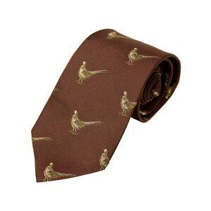 No.16 Tie Burgundy Pheasants Silk Tie by Bisley
