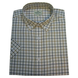 Hoggs Of Fife Short-sleeved Tattersall Shirt - Navy/Tan/Green