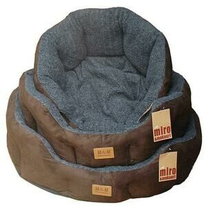 Luxurious Faux Suede Dog Bed Blue/Grey