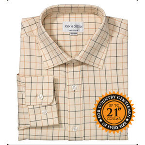 John M Cotton Brown/Country Green Check Mens Country Cotton Shirt
