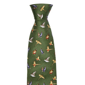 Hoggs of Fife Silk Country Tie Green Mixed birds