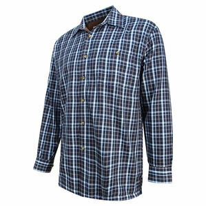 Hoggs Bark Micro-Fleece Lined Check Shirt - Navy/Brown