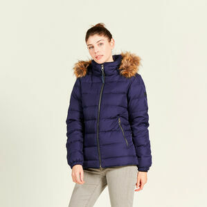 Aigle Rigdown Short Jacket With Faux Fir Trim - Indigo Blue
