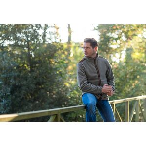 Baleno Moss Green & Brown Charles Fleece Jacket 834B