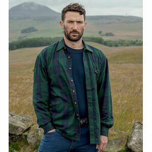 Hoggs of Fife Strathearn Jersey Lined Green Check Shirt