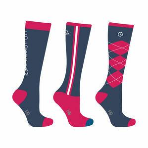 Coldstream Cornhill Socks (Pack of 3) Mykonos Blue/Raspberry