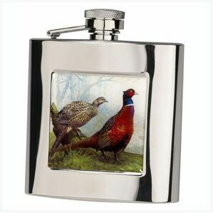 Bisley Pheasant Stainless Steel Hip Flask - 6oz