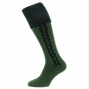 Hoggs Contrast Colour Cable Socks - Green/Navy Blue