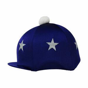 HyFASHION Pom Pom Hat Cover with Glitter Star Pattern - Navy Blue/Silver