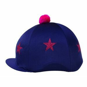 HyFASHION Pom Pom Hat Cover with Glitter Star Pattern - Navy Blue/Pink