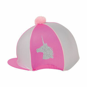 HyFASHION Pom Pom Hat Cover with Glitter Unicorn Pattern - Cerise/Light Pink