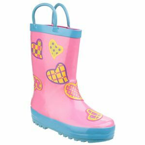 Cotswold Child\'s Puddle Waterproof Pull On Wellies (Hearts)