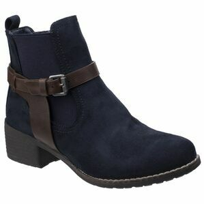 Ivana Block Heel Ankle Boot in Navy