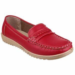 Thames Slip On Loafer Shoe in Red