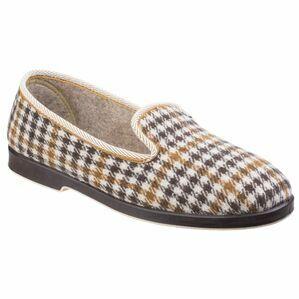Everett Mens Check Slipper in Grey