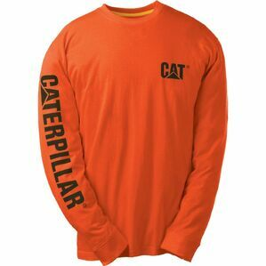 Caterpillar Trademark Banner Long Sleeve T Shirt - Adobe Orange
