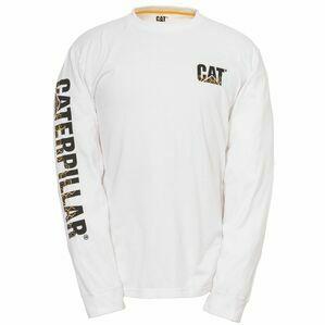 Caterpillar Custom Banner Long Sleeve T-Shirt - White