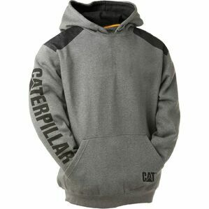 Caterpillar Logo Panel Hooded Sweatshirt in Dark Heather Grey