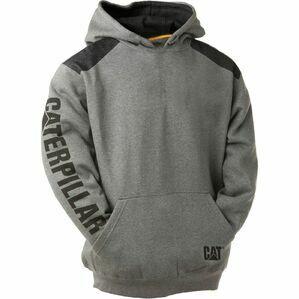 Caterpillar Logo Panel Hooded Sweatshirt in Dark Heather Grey