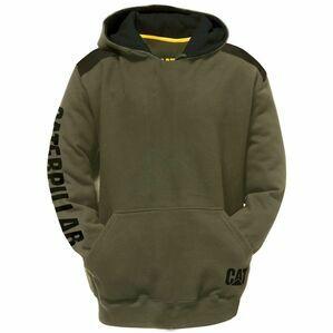Caterpillar Logo Panel Hooded Sweatshirt in Army Moss