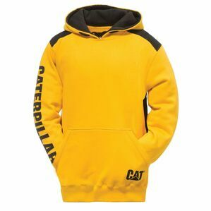 Caterpillar Logo Panel Hooded Sweatshirt in Yellow
