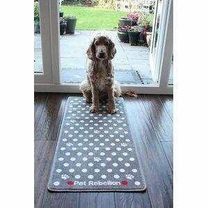 Pet Rebellion Stop Muddy Paws Dotty Grey Dog Mat