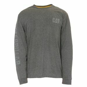 Caterpillar Custom Banner Long Sleeve T Shirt in Dark Grey