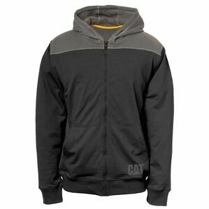 Caterpillar Contrast Yoke Zip Sweatshirt in Black