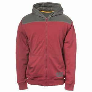 Caterpillar Contrast Yoke Zip Hoodie in Brick