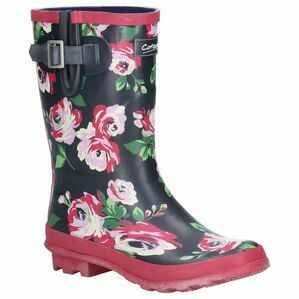 Cotswold Paxford Elasticated Mid Calf Wellington in Black/Flower