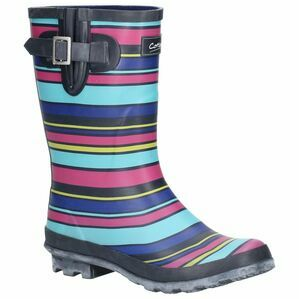 Cotswold Paxford Elasticated Mid Calf Wellington Boot in Stripe Multicoloured