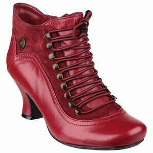 Hush Puppies Vivianna Lace Up Heeled Boot in Red