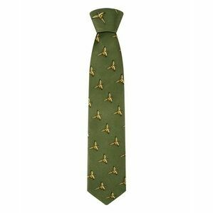 SILK COUNTRY TIE GRN FLYING PHEASANTS HOGGSCTIE/GR/1
